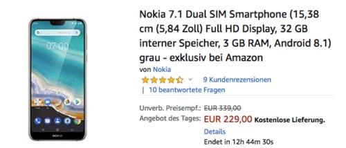 Nokia 7.1 Dual SIM Smartphone,  32 GB, Android 8.1, grau - jetzt 8% billiger