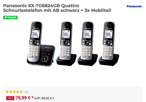 Panasonic KX-TG6824GB Quattro Schnurlostelefon mit AB und 3x Mobilteilen - jetzt 10% billiger