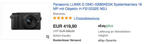 Panasonic LUMIX G DMC-GX80KEGK 16 MP Systemkamera mit Objektiv H-FS12032E - jetzt 9% billiger