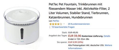 PetTec Pet Fountain Trinkbrunnen für Hund & Katze - jetzt 20% billiger