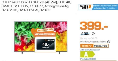 PHILIPS 43PUS6703 108 cm (43 Zoll) UHD 4K- Fernseher mit 3-seitigem Ambilight inkl. 40 € Saturn Coupon-Code - jetzt 9% billiger
