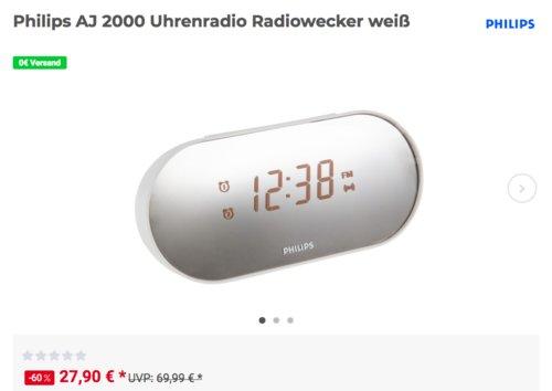 Philips AJ2000 Radiowecker, weiß - jetzt 17% billiger