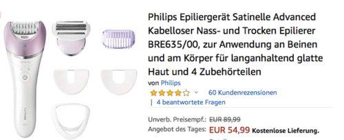 Philips BRE635/00 Satinelle Advanced Damenepilierer mit 4 Zubehörteilen - jetzt 20% billiger