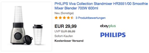 PHILIPS Viva Collection Standmixer HR3551/00 (neu und unbenutzt, aber leichte Verpackungsmängel können vorhanden sein) - jetzt 40% billiger