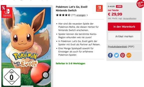 Pokémon: Let´s Go, Evoli! - [Nintendo Switch] - jetzt 10% billiger