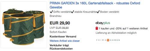 PRIMA GARDEN 3x 160L Gartenabfallsack-Set - jetzt 14% billiger