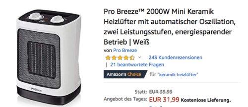 Pro Breeze™ 2000W Mini Keramik Heizlüfter, weiß - jetzt 18% billiger