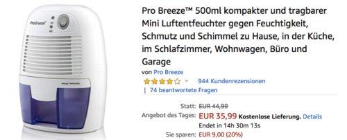 Pro Breeze PB-02 EU 500ml Mini Luftentfeuchter - jetzt 20% billiger