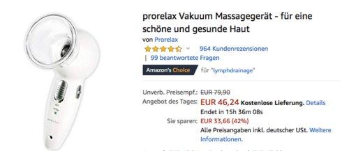 prorelax 39213 Vakuum Massagegerät für eine schöne und gesunde Haut - jetzt 17% billiger