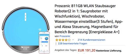 Proscenic 811GB WLAN 2 in 1 Saugroboter mit Wischfunktion - jetzt 16% billiger