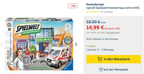 Ravensburger tiptoi® Spielwelt Krankenhaus (ohne Stift) - jetzt 34% billiger