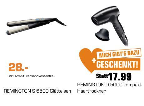 REMINGTON S6500 Glätteisen und REMINGTON D 5000 Haartrockner Gratis dazu - jetzt 39% billiger