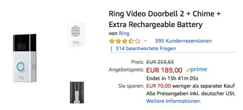 Ring Video Doorbell 2 + Ring Chime + Extra Rechargeable Battery - jetzt 25% billiger