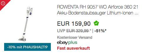 Rowenta RH9057WO Akku-Stielstaubsauger - jetzt 10% billiger