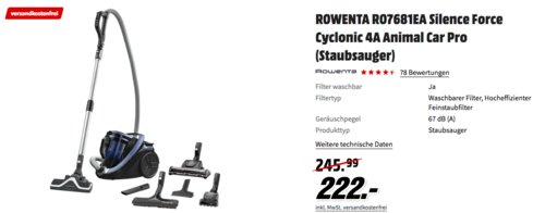 Rowenta RO7681EA Silence Force Cyclonic 4A Animal Care Pro Bodenstaubsauger, blau - jetzt 10% billiger
