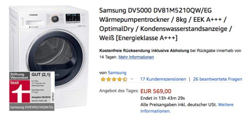 Samsung DV5000 DV81M5210QW/EG Wärmepumpentrockner, A+++ - jetzt 12% billiger