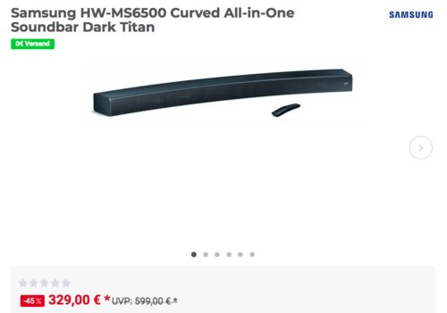 Samsung HW-MS6500 Curved All-in-One Soundbar, dark titan - jetzt 13% billiger