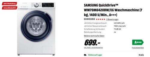 SAMSUNG QuickDrive™ WW70M642OBW/EG Waschmaschine (7 kg, 1400 U/Min., A+++) inkl. 100 € Coupon - jetzt 14% billiger