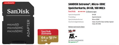 SANDISK Extreme® Micro-SDXC 64 GB Speicherkarte - jetzt 25% billiger