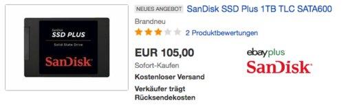 SanDisk SSD Plus 1TB interne SSD-Festplatte, 2,5 Zoll - jetzt 12% billiger