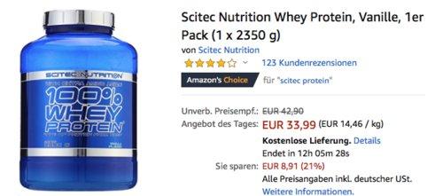 Scitec Nutrition Whey Protein, Vanille, 1 x 2350 g - jetzt 4% billiger