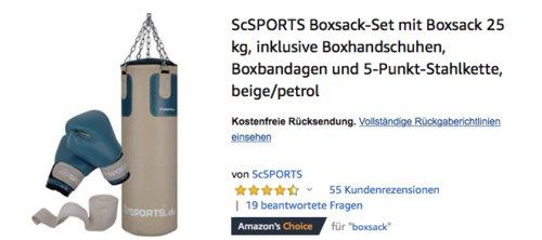 ScSPORTS Boxsack-Set mit 25 kg Boxsack und Boxhandschuhen - jetzt 20% billiger