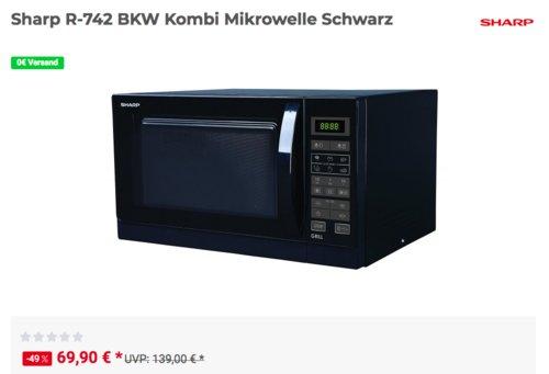 Sharp R742BKW 2-in-1 Mikrowelle mit Grill, schwarz - jetzt 7% billiger
