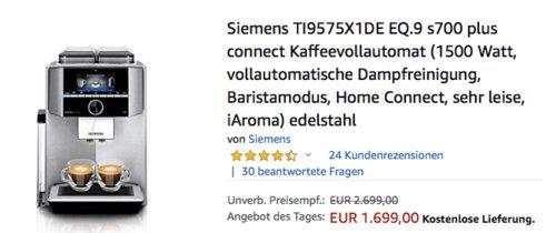 Siemens TI9575X1DE EQ.9 s700 plus connect Kaffeevollautomat mit DualBean System - jetzt 6% billiger