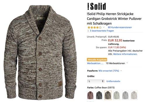 !Solid Philip Herren Strickjacke in verschiedenen Farben, Grobstrick, Regular Fit - jetzt 19% billiger