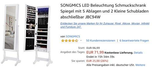SONGMICS JBC94W Schmuckschrank/Standspiegel mit LED Beleuchtung - jetzt 24% billiger