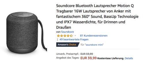 "Soundcore ""Motion Q"" 360° Bluetooth Lautsprecher, 16W - jetzt 18% billiger"