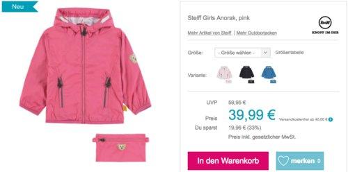 Steiff Girls Anorak (68-116), verschiedene Farben - jetzt 20% billiger