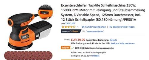 Tacklife PRS01A Exzenterschleifer 350W inkl. 12 Stück Schleifpapier (80,180 Körnung) - jetzt 8% billiger