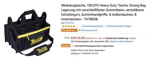 TECCPO THTB02B Heavy Duty Werkzeugtasche - jetzt 67% billiger