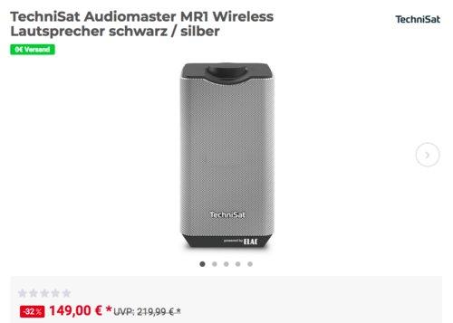 TechniSat Audiomaster MR1 Wireless Lautsprecher, 30 Watt, schwarz/silber - jetzt 9% billiger