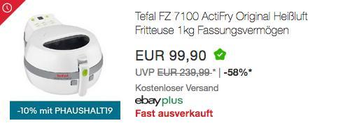 Tefal ActiFry FZ7100 Heißluft-Fritteuse, 1400 W, 1 Kg - jetzt 10% billiger