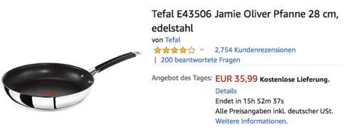 Tefal E43506 Jamie Oliver Pfanne 28 cm, edelstahl - jetzt 19% billiger