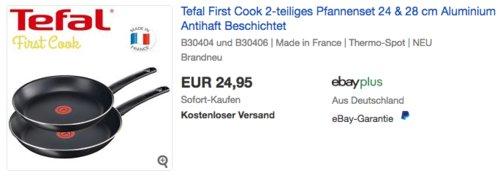 Tefal First Cook 2-teiliges Pfannenset, 24 & 28 cm - jetzt 29% billiger