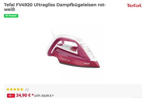 Tefal FV4920 Ultragliss Dampfbügeleisen, rot-weiß - jetzt 12% billiger