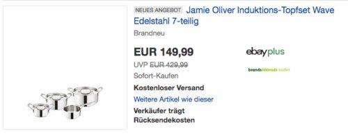 """Tefal H804S7 Jamie Oliver Induktions-Topfset """"Wave"""", 7-teilig - jetzt 14% billiger"""