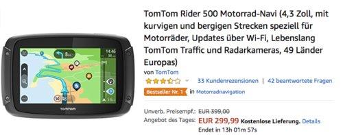 TomTom Rider 500 Motorrad-Navi, Europa 48 Länder - jetzt 19% billiger