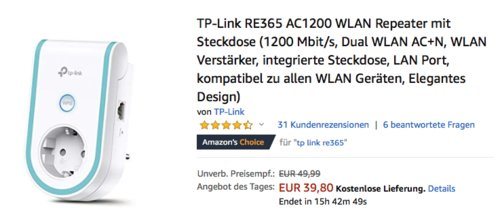 TP-Link RE365 AC1200 WLAN Repeater mit Steckdose, 1200 Mbit/s - jetzt 20% billiger