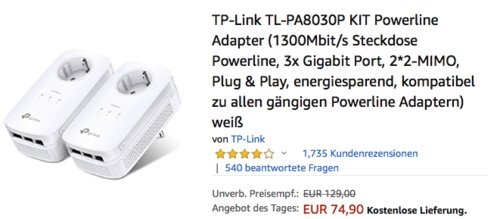 TP-Link TL-PA8030P Powerline Adapter KIT - jetzt 12% billiger