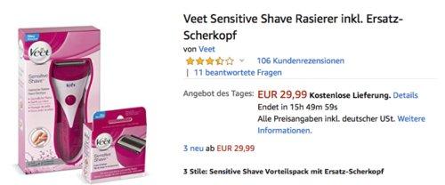 Veet Sensitive Shave Rasierer inkl. Ersatz-Scherkopf - jetzt 14% billiger