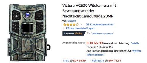 Victure HC600 20MP Wildkamera mit Bewegungsmelder, Camouflage - jetzt 26% billiger