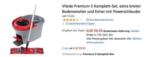 Vileda Premium 5 Komplett-Set, extra breiter Bodenwischer und Eimer mit Powerschleuder - jetzt 18% billiger
