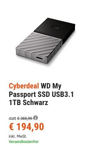 WD My Passport SSD USB3.1 1TB externe Festplatte, schwarz - jetzt 9% billiger