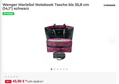 """Wenger  MarieSol 4-in-1 doppelseitige Tragetasche mit entfernbarer 14"""" Laptop Hülle - jetzt 17% billiger"""