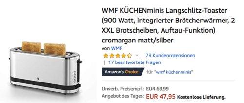 WMF KÜCHENminis Langschlitz-Toaster, silber - jetzt 11% billiger