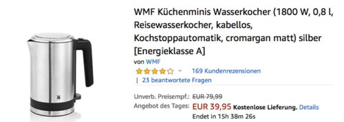 WMF Küchenminis Wasserkocher, 1800 W, 0,8 l, silber - jetzt 11% billiger